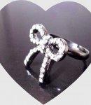 anello camomilla fiocco e strass