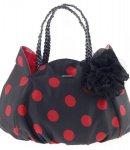 borsa camomilla shoulder bag  black w-red dots