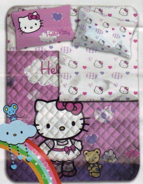 Copriletto Trapuntato Hello Kitty.Trapunta Hello Kitty Singolo