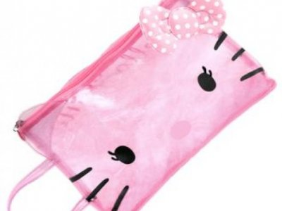 borsa hello kitty beach pochette dotty cristal pink