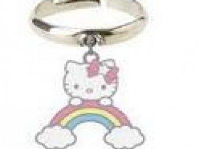 Anello con pendente arcobaleno Hello Kitty