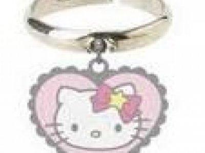 Anello con pendente cuore Hello Kitty