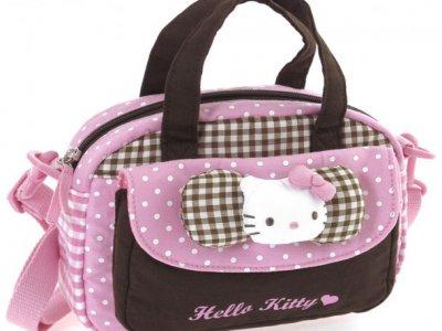 Borsa Bauletto Hello Kitty con tasca e tracolla pink&brown