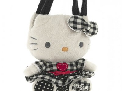 borsa hello kitty mini  plush poupette black  k. i love you