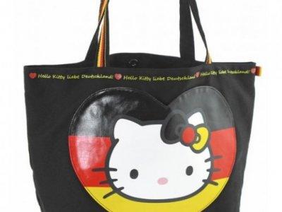 Borsa Shopper Giramondo Germania Hello Kitty - L - Nera