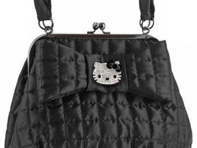 Borsa Cluth bag nera Hello Kitty