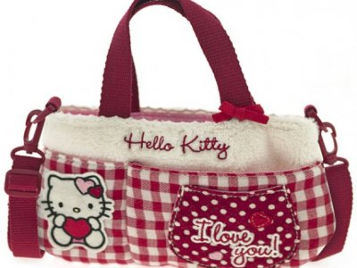 borsa hello kitty flat bag i love you red