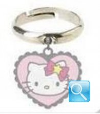 Anello con pendente cuore Hello Kitty