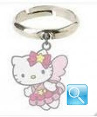 Anello con pendente farfalla Hello Kitty