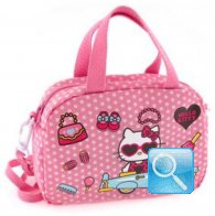 borsa hello kitty bauletto con tracolla dotty d.pink