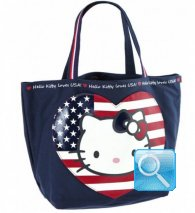 Borsa Shopper Giramondo Usa Hello Kitty - L - Blue