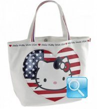Borsa Shopper Giramondo Usa Hello Kitty - L - Bianco