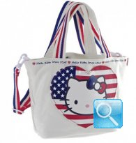 Borsa Shopper Giramondo Usa Hello Kitty - S - Bianco