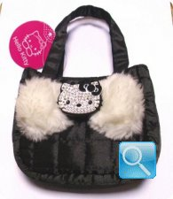 Borsa Sportina w/tracollina nera Hello Kitty