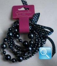 bracciale S camomilla pearl falls blue 6 fili