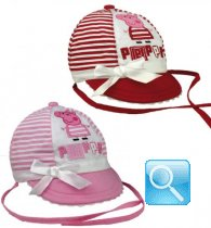 Cappellini con laccetti e visiera neonati Rosso o Rosa Peppa Pig