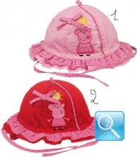 Cappellini con laccetti Rosso o Rosa per neonati Peppa Pig