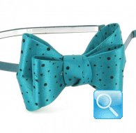 cerchietto camomilla big ribbon pois petrol
