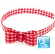 cerchietto camomilla bow wow check red
