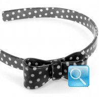 cerchietto camomilla bow wow pois black