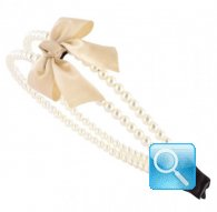 cerchietto camomilla double pearl&bow beige