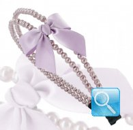 cerchietto camomilla double pearl&bow lilac
