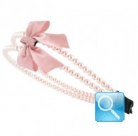 cerchietto camomilla double pearl&bow pink
