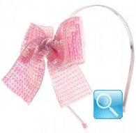 cerchietto camomilla fiocco paillettes rosa