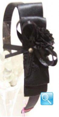 cerchietto camomilla fiori & nastrini black