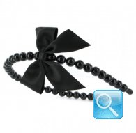 cerchietto camomilla pearl&bow black