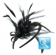 cerchietto camomilla ribbon feather black