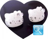 orecchine hello kitty glitter white