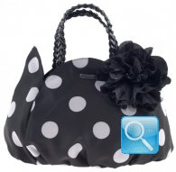 borsa camomilla handbag black w-white dots  