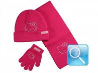 guanti berretto sciarpa hello kitty fuxia