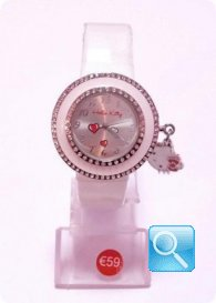 Orologio Bianco Hello Kitty con Cuori e mini faccetta pendente