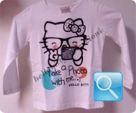 maglia hello kitty t-shirt  bianca manica lunga 10 anni