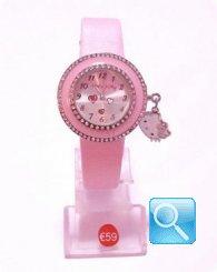 Orologio Rosa Hello Kitty con Cuori e mini faccetta pendente
