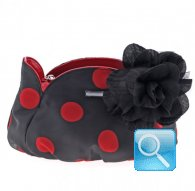 borsa camomilla pouch black w-red dots