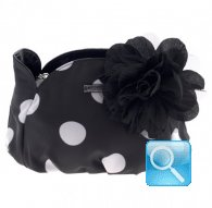borsa camomilla pouch black w-white dots