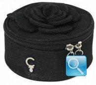 beauty rounded box fiori e lustrini camomilla M nero