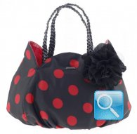 borsa camomilla shoulder bag  black w-red dots