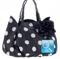 borsa camomilla shoulder bag  black w-white dots