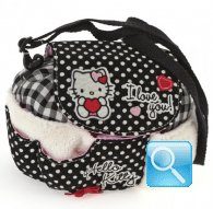 borsa hello kitty tracollina tonda i love you black